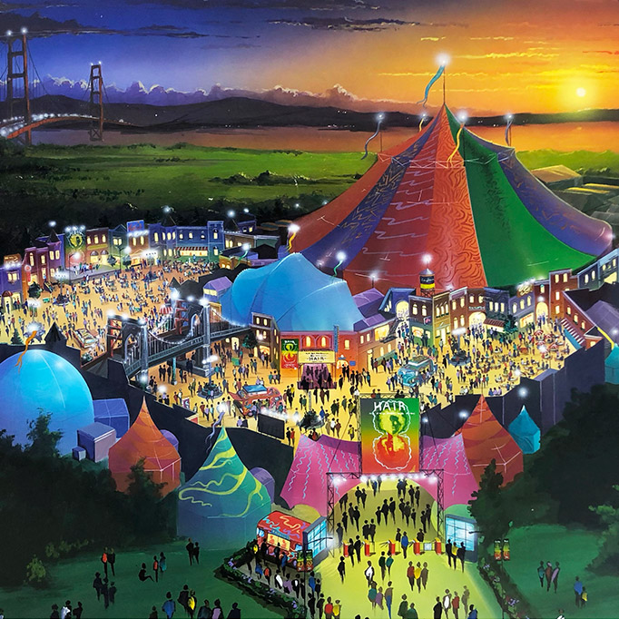 illustrated artist's rendering of fair centered around big top circus tent celebrating the musical, Hair